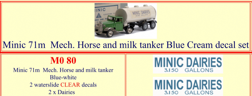 "M080 Tri-ang ( Triang ) Minic 71M "" MINIC DAIRIES "" Mechanical Horse and Milk Tanker BLUE CREAM decal set"